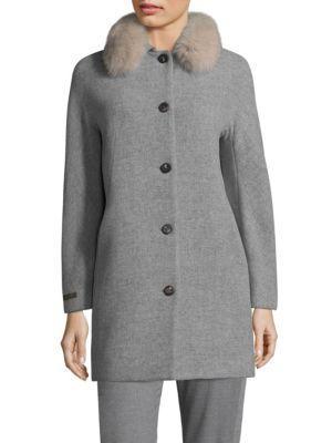 Peserico Fox Fur Collar Coat In Charcoal