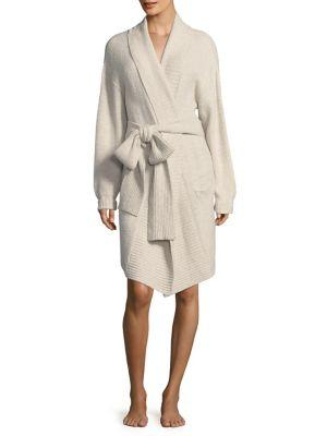 Skin Ribbed Boucle Robe In Ivory