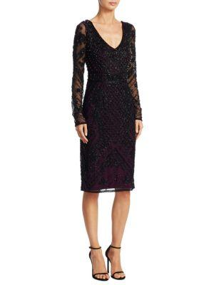 Theia Long-Sleeve Beaded Dress In Black