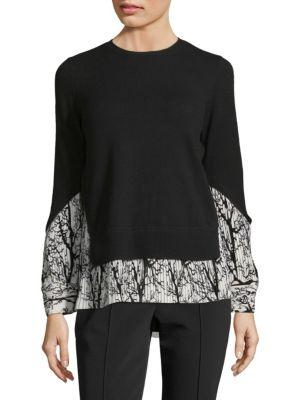 Yigal AzrouËL Pleated Tree-Print Pullover In Black