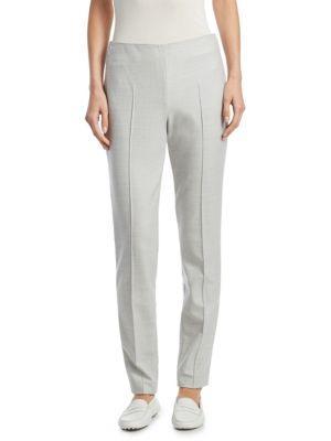 Akris Melissa Straight-Leg Wool Flannel Pants In Gravel