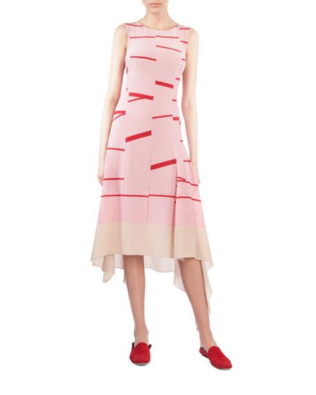 Akris Round-Neck Sleeveless Broken-Stripes Silk Blouse In Pink/Red