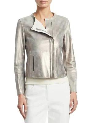 Akris Zip-Front Reversible Napa Leather Jacket In Gravel-Paper