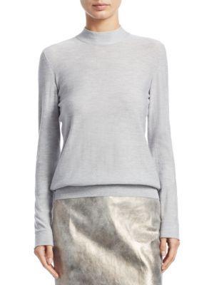 Akris Mockneck Cashmere & Silk Pullover In Gravel