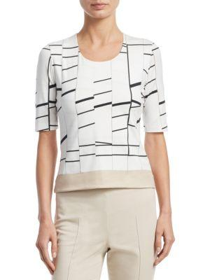 Akris Boat-Neck Broken-Stripes Silk Tunic Blouse In Paper-Schwarz