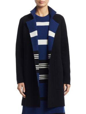 Akris Open-Front Reversible Striped Cashmere Knit Coat In Royal