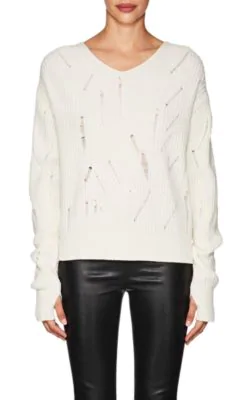 Helmut Lang V-Neck Drop-Needle Wool Sweater In Brown