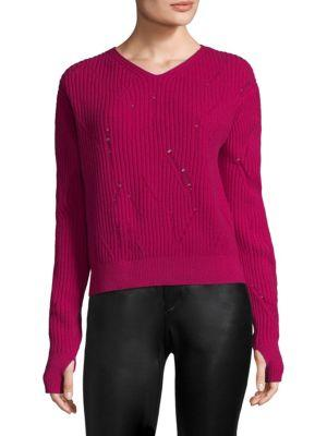 Helmut Lang Drop Needle Wool Sweater In Magenta