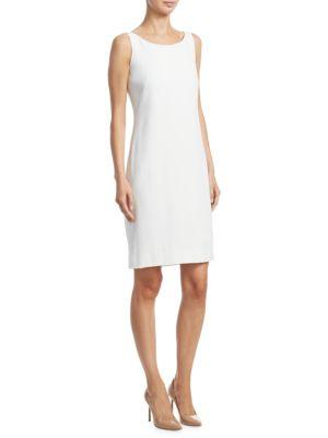 Akris Round-Neck Sleeveless Crepe Sheath Dress In Paper