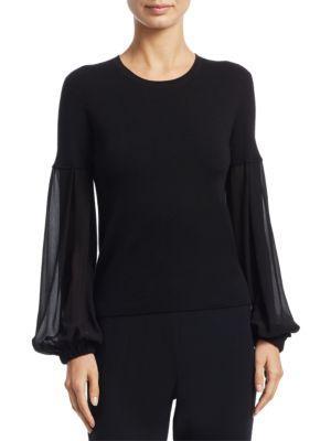 Akris Round-Neck Chiffon-Sleeve Knit Cashmere-Blend Blouse In Black