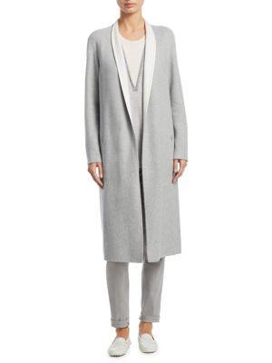 Akris Padua Silk Jersey Coat In Gravel-Paper