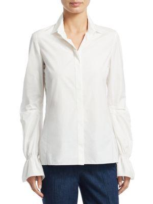 Akris Bell-Sleeve Cotton Poplin Button-Down Shirt In Paper