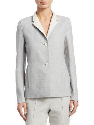 Akris Oberon Reversible Wool Jacket In Gravel-Off White