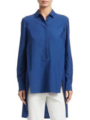 Akris Long Button-Front Cotton Poplin Tunic Blouse In Dark Blue