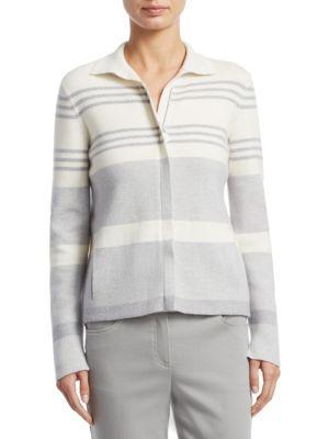 Akris Mock-Neck Zip-Front Reversible Cashmere Knit Jacket In Gravel-Paper