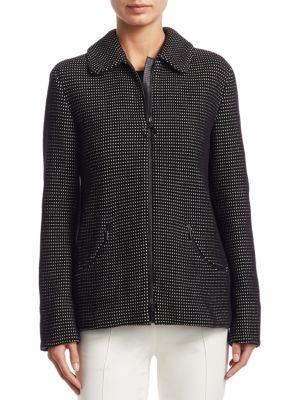 Akris Punto Mini Dot Jacquard Jacket In Black-Cream