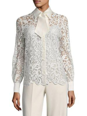 Tory Burch Rosie Button-Down Blouse In New Ivory