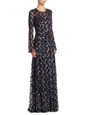 Jenny Packham Sequinned Check Gown In Black