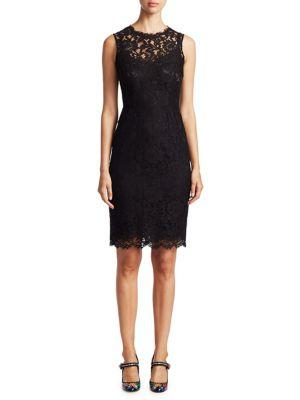 Dolce & Gabbana Sleeveless Fitted Lace Sheath Dress In Black
