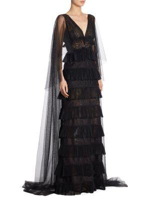 Elie Saab Lace Tiered Gown In Black