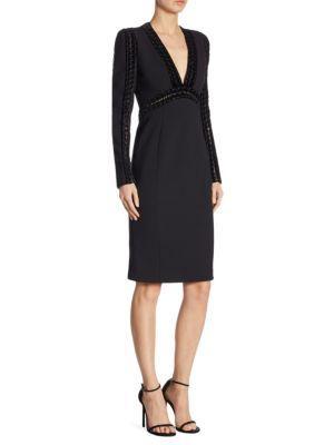 Elie Saab Velvet Trim Sheath Dress In Black