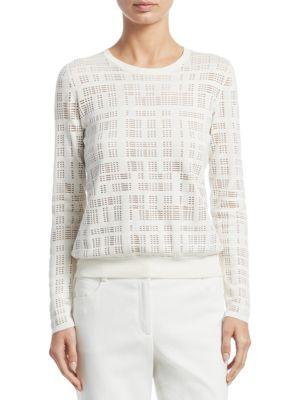 Akris Embroidered Silk-Blend Pullover In Paper