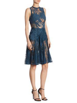 Elie Saab Sheer Lace A-Line Dress In Dark Blue