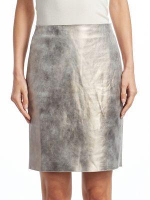 Akris Metallic Leather Pencil Skirt In Gravel-Paper