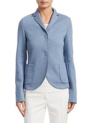 Akris Punto Stand-Collar Two-Button Blazer In Bleached Denim