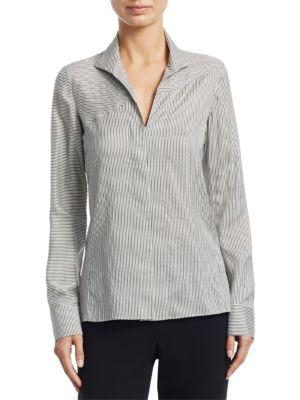 Akris Button-Front Narrow-Stripe Silk Blouse In Paper-Black