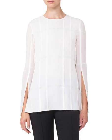 Akris Round-Neck Hook-Front Circle-Embroidery Crepe Jacket In White