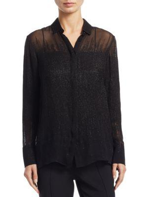 Akris Button-Front Long-Sleeve Beaded-Embellished Silk Blouse In Black