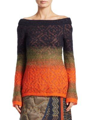 Peter Pilotto Lace Off-The-Shoulder Sweater In Black