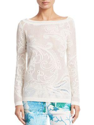 Roberto Cavalli Coral Reef Top In Ivory