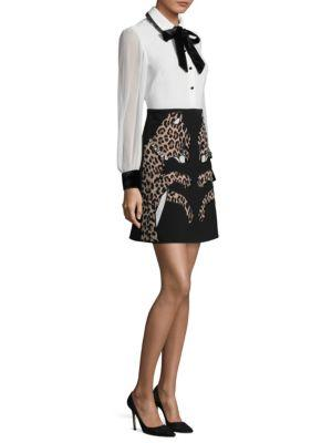 Kate Spade Leopard Applique Shirtdress In Black