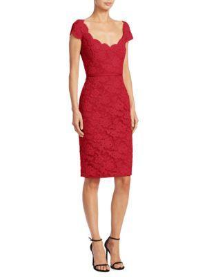 Reem Acra Scoopneck Lace Dress In Red