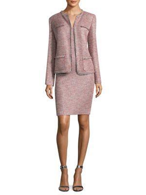 St. John Metallic Fringe-Trim Jacket In Rosa Multi