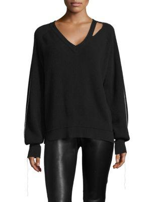 Helmut Lang Cutout Distressed Wool-Blend Sweater In Black