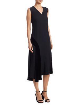 Akris Punto Sleeveless Velvet-Trim Midi Dress In Black