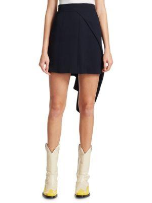 Calvin Klein 205W39Nyc Asymmetrical Draped Mini Skirt In Dark Navy