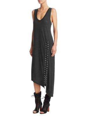 Iro Karossi Lace-Up Slit Linen Midi Dress In Grey