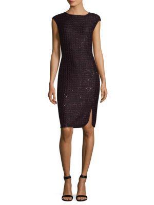 St. John Scalloped Sequin Tweed Sheath Dress In Fig Caviar