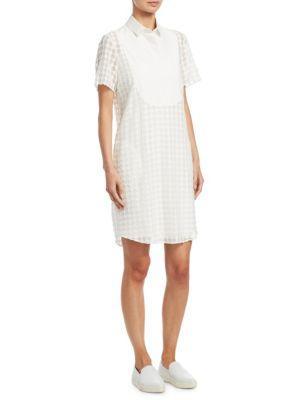 Akris Punto Lace Dot Shift Dress In Cream