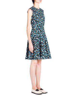 Marni Abstract-Print Flared Dress In Black