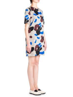 Marni Floral Print Shift Dress In Cord
