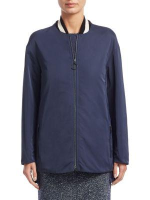 Akris Punto Techno Long Bomber Jacket In Indigo