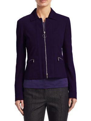 Akris Punto Short Zip Suede Jacket In Purple