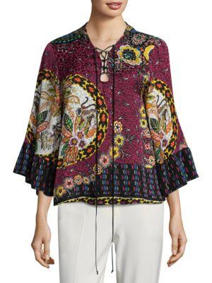 Etro Jungle Floral-Print Silk Lace-Up Blouse In Pink Multi