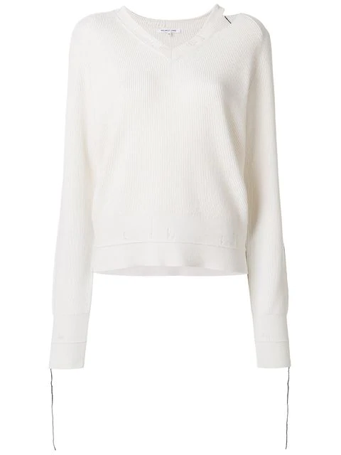 Helmut Lang V-Neck Long-Sleeve Cotton-Cashmere Rib-Knit Sweater In Neutrals