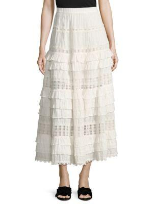 Zimmermann Corsair Tiered Broderie Anglaise Cotton Midi Skirt In White